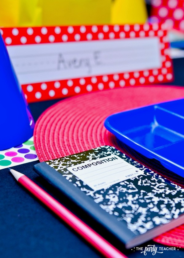 Junie B Jones Birthday Party by The Party Teacher - place setting with first grade journal