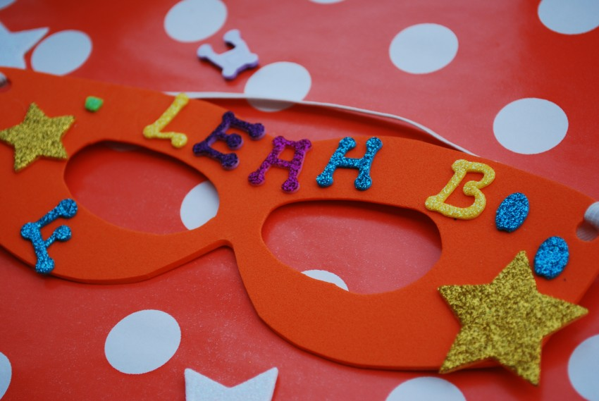 Girl's superhero birthday party - decorated mask