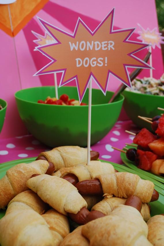 Girl's superhero birthday party - wonder dogs