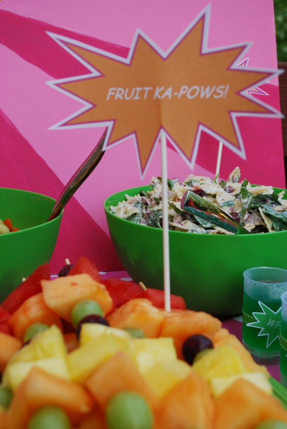 Girl's superhero birthday party -fruit ka-pows