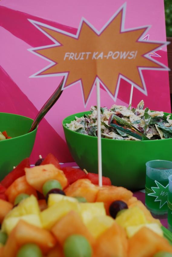 Girl's superhero birthday party -fruit ka-pows