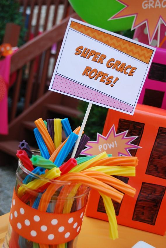Girl's superhero birthday party -super grace ropes