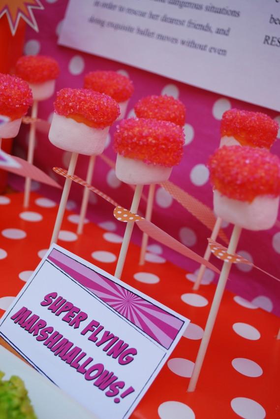 Girl's superhero birthday party -super flying marshmallows