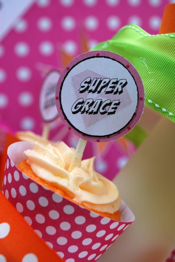 Girl's superhero birthday party -super grace cupcakes