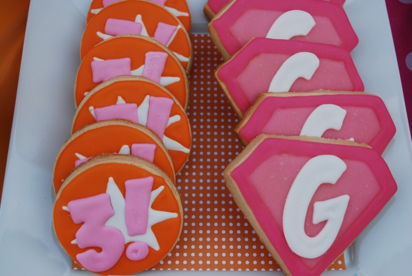 Girl's superhero birthday party -number and letter cookies