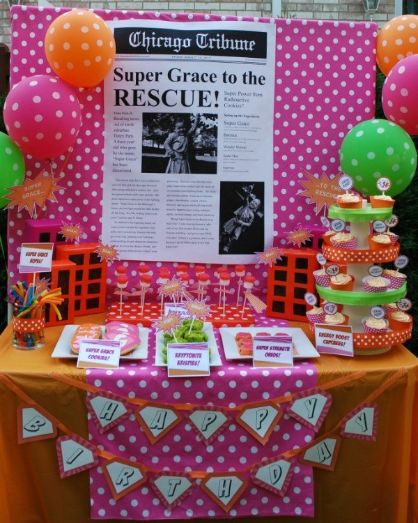 Girl's superhero birthday party -dessert table