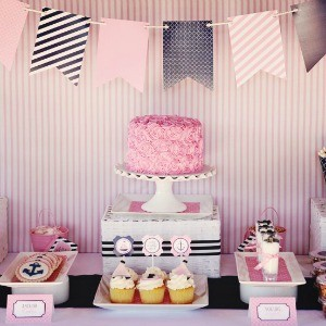 Guest Party: Pink and Navy First Birthday Party