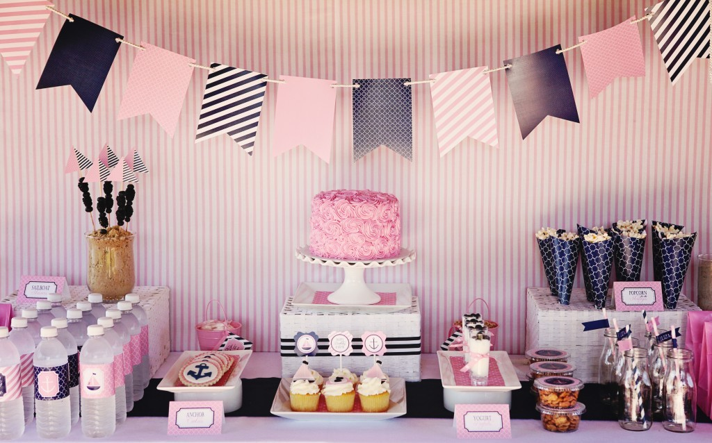 Guest Party Pink And Navy First Birthday