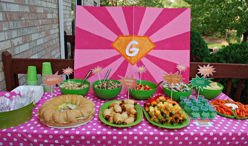 Girl's superhero party - lunch buffet table