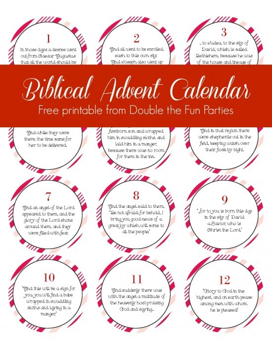 Biblical Advent Calendar free printable by Double the Fun Parties -- great for telling the Nativity story to young children