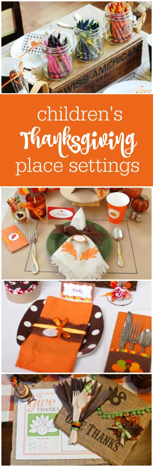 Children's Thanksgiving Placesettings - so much cute inspiration - featured on The Party Teacher