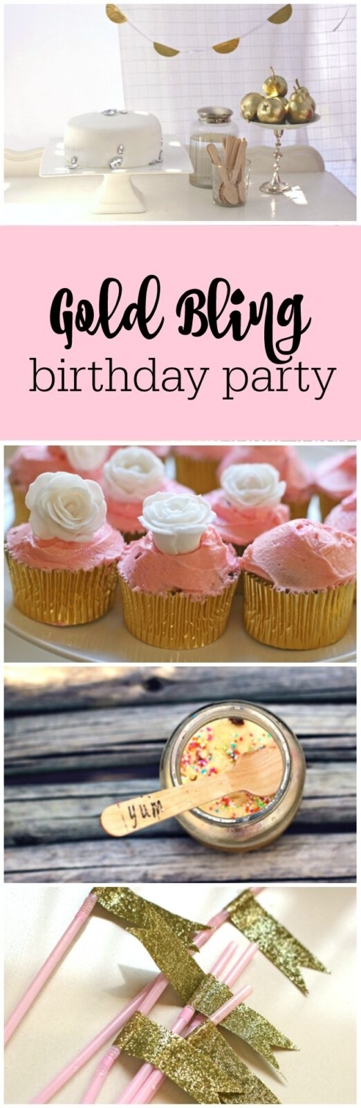 Gold bling and pink 8th birthday party by Betty Bake Blog by The Party Teacher