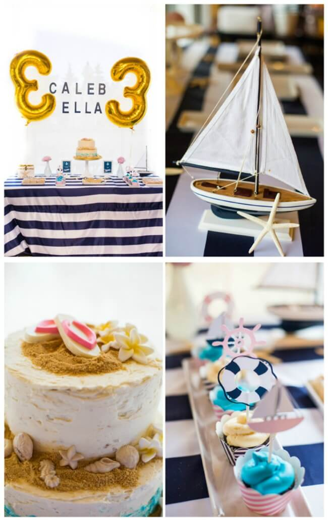 Nautical party for boy girl twins