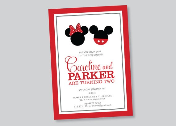 Scalloped Acorn Micky Minnie Invite