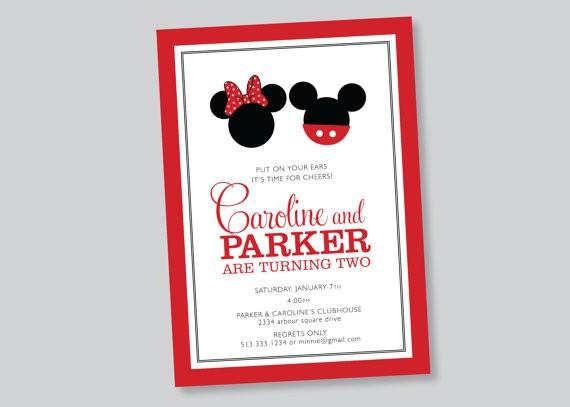 Scalloped Acorn Micky Minnie Invite