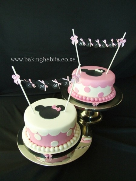 Twins birthday cakes minnie mouse