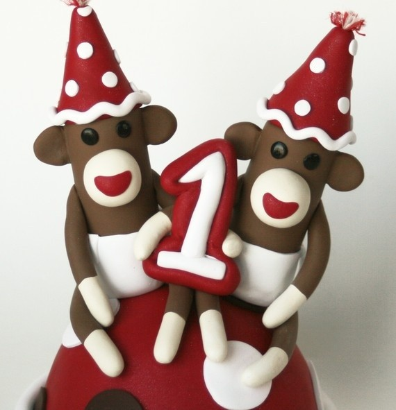 sock monkey cake toppers