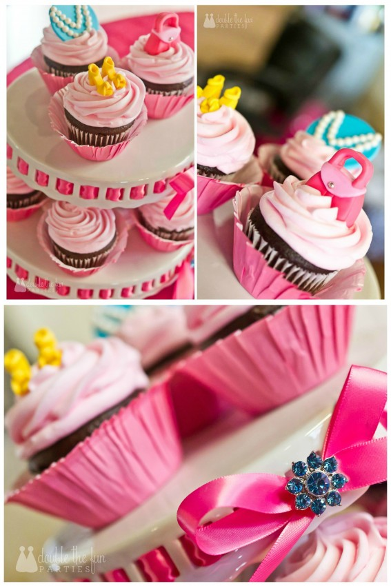 Dress Up Party cupcakes with purse and shoe toppers from Edible Details | Party by Double the Fun Parties wm