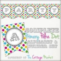 FFs TheCottageMarket Bright Polka Dot Alphabet Numbers Banner