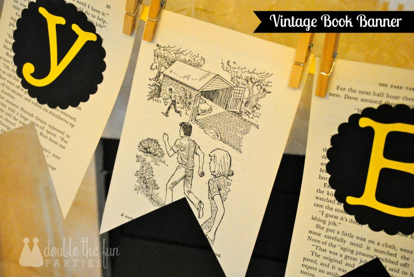 How to make a vintage book banner from Double the Fun Parties