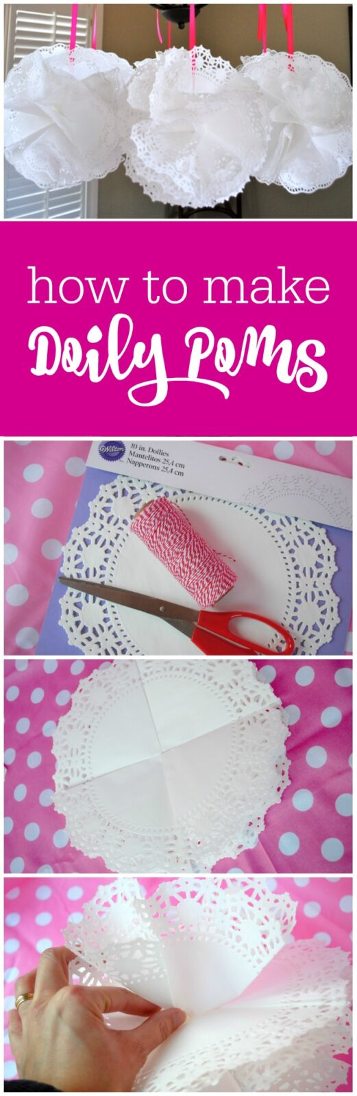 How to make doily poms - it's as easy as folding and hot gluing - The Party Teacher