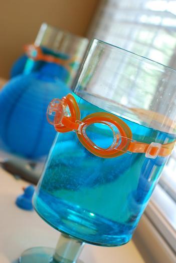 Pool goggles on blue jello