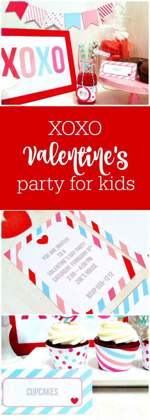 XOXO Valentine's Day Party for kids by Cupcake Wishes and Birthday Dreams featured on The Party Teacher
