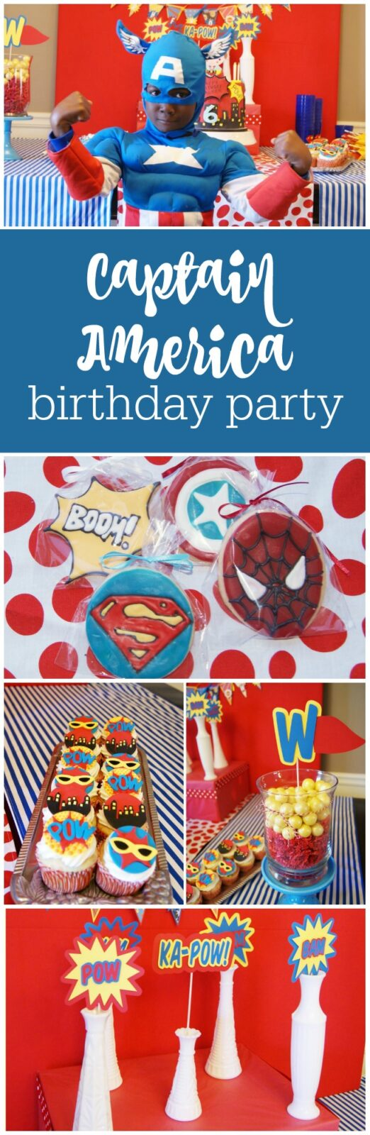 Captain America 6th birthday party by Sweet Georgia Sweet featured on The Party Teacher