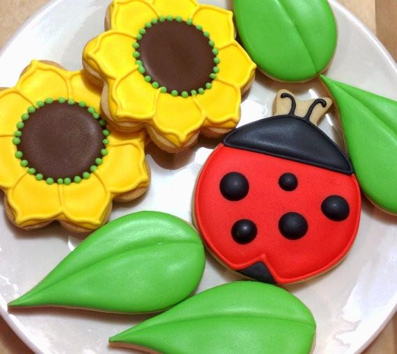 Flower Ladybug Cookies Pink Frosting Cookies