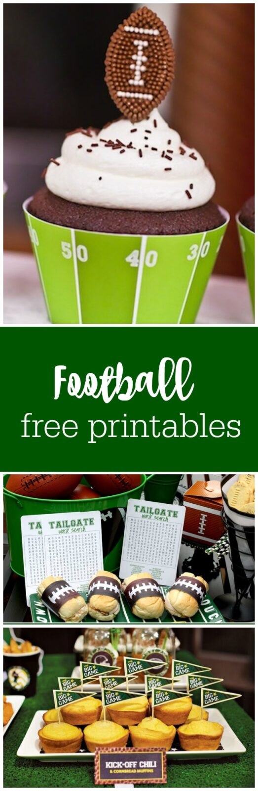 Football and tailgating free printables curated by The Party Teacher