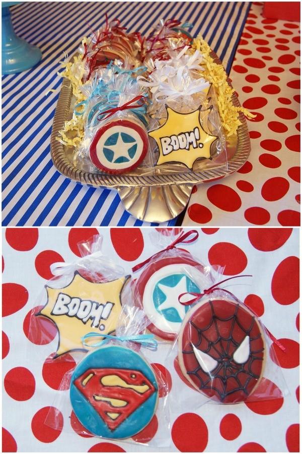 Superhero birthday party cookies