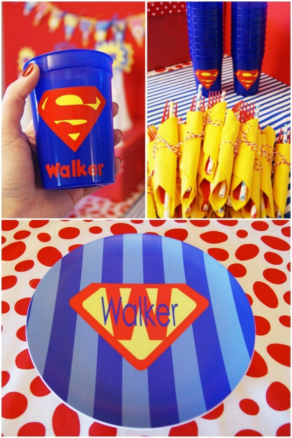 Superhero birthday party plates cups and forks