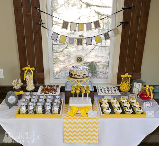 DFP mystery party dessert table