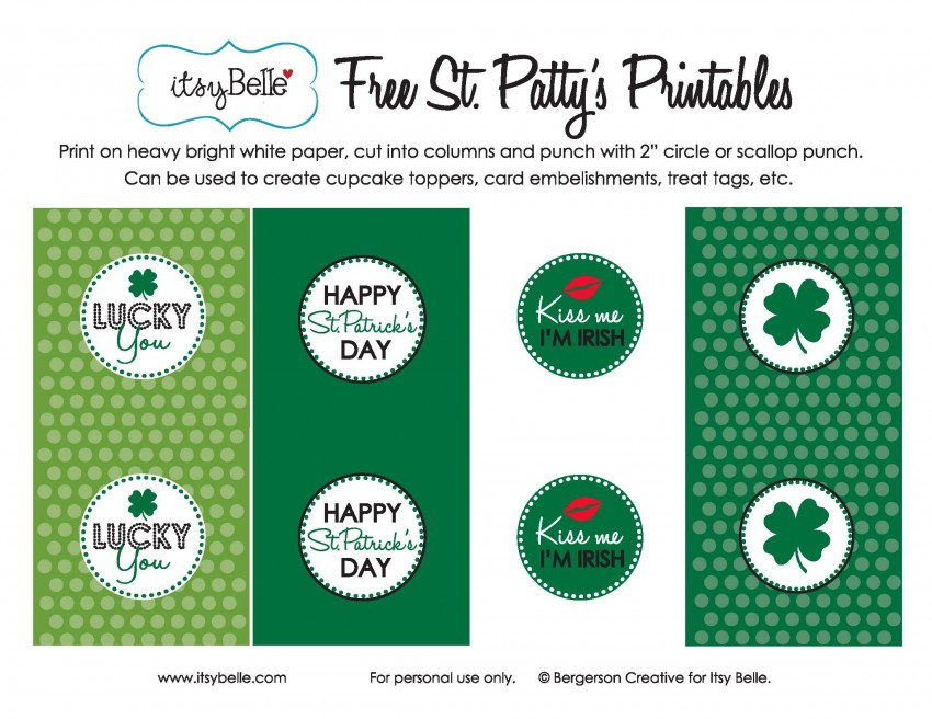 FF Itsy Belle St. Patrick's Day free printables