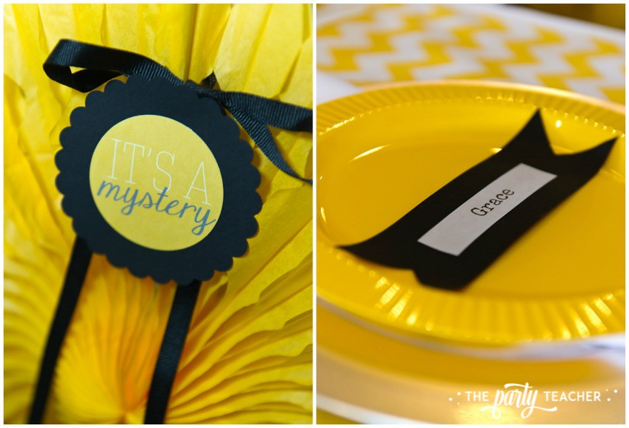 Nancy Drew Mystery Birthday Party by The Party Teacher - chair decoration and place setting