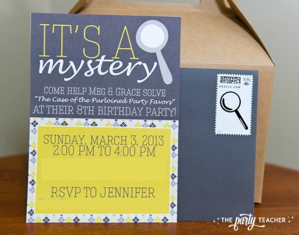 Nancy Drew Mystery Birthday Party by The Party Teacher - invitation
