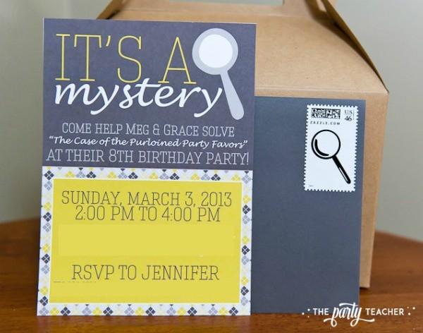 Nancy Drew Mystery Birthday Party by The Party Teacher - invitation