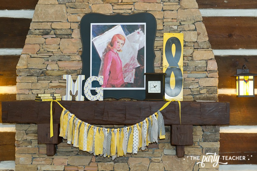 Nancy Drew Mystery Birthday Party by The Party Teacher - mantle decor