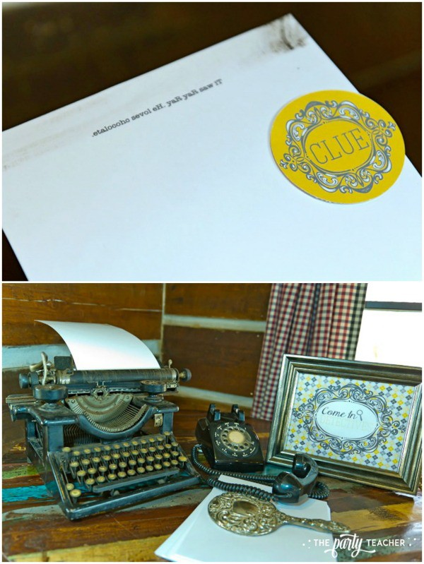 Nancy Drew Mystery Birthday Party by The Party Teacher - mirror clue and antique typewriter