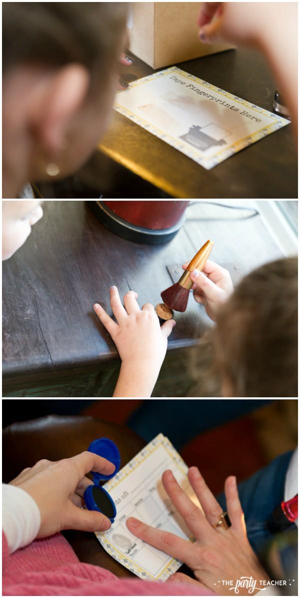 Nancy Drew Mystery Birthday Party by The Party Teacher - taking fingerprints