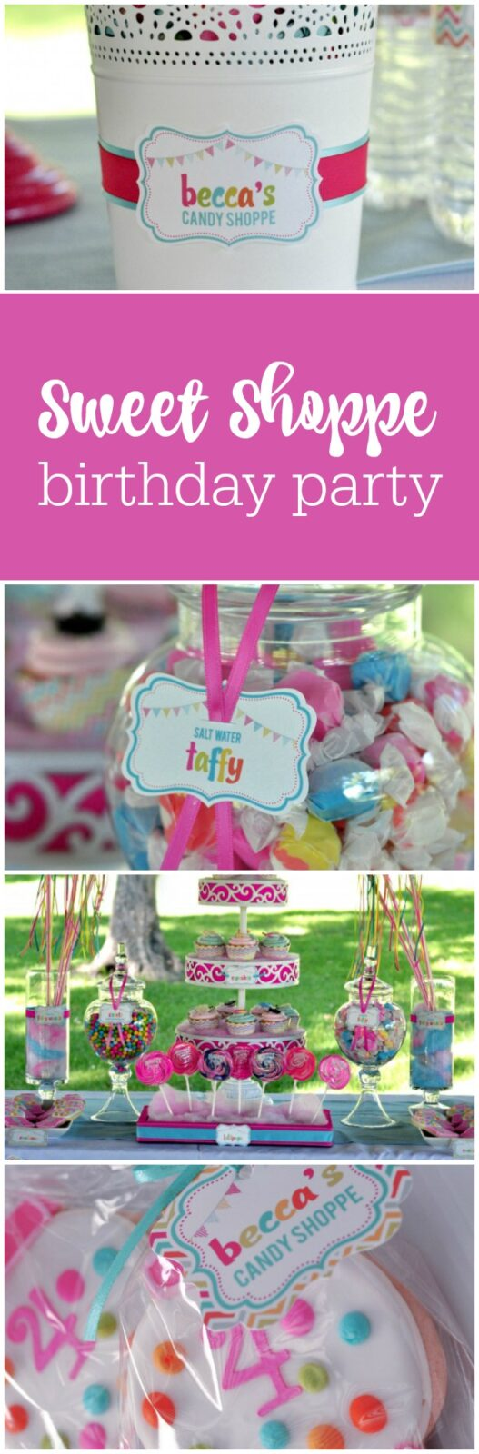 Sweet Shoppe 4th birthday party by BluGrass Designs featured on The Party Teacher