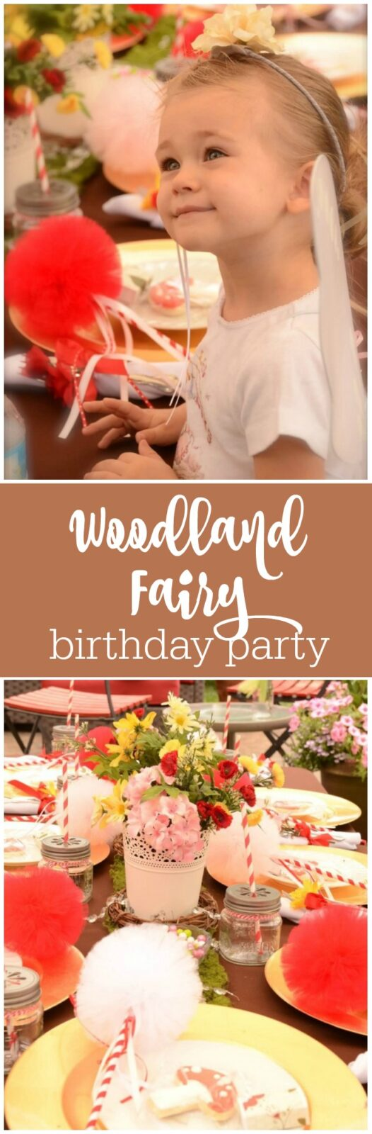 Charming woodland fairy birthday party in reds, pinks, and browns featured on The Party Teacher