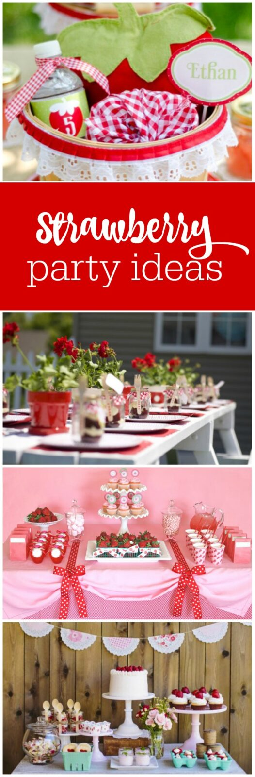 Such a cute collection of strawberry party ideas curated by The Party Teacher