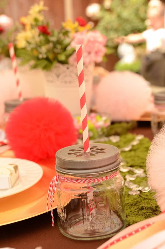 Woodland fairy birthday party by Ritzy Parties featured on The Party Teacher - mason jars tied with baker's twine