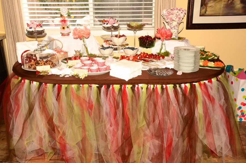 Woodland fairy birthday party by Ritzy Parties featured on The Party Teacher - dessert table with tulle skirt