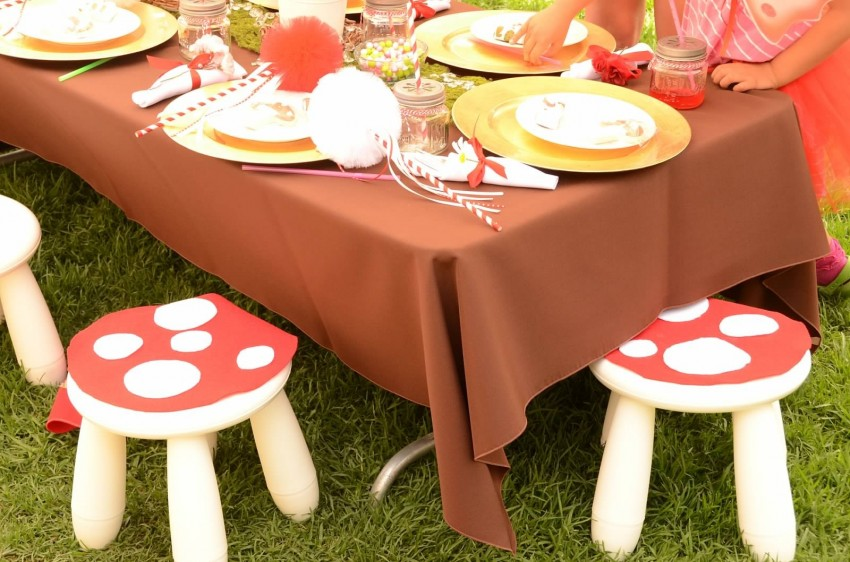 Woodland fairy birthday party by Ritzy Parties featured on The Party Teacher - toadstool stools