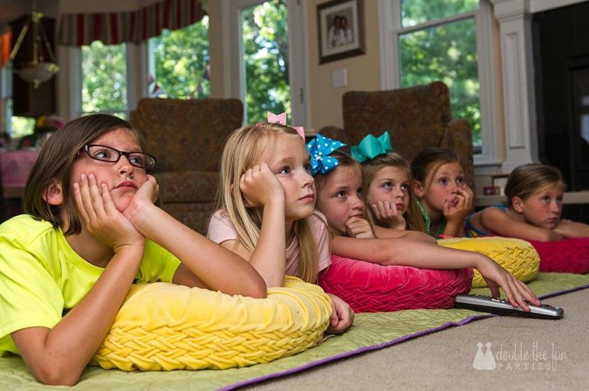 Watching the movie at our sleepover party - The Party Teacher