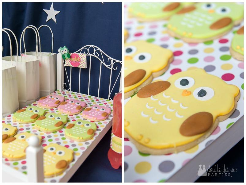 Darling owl cookies on doll beds for a night owl sleepover - The Party Teacher.