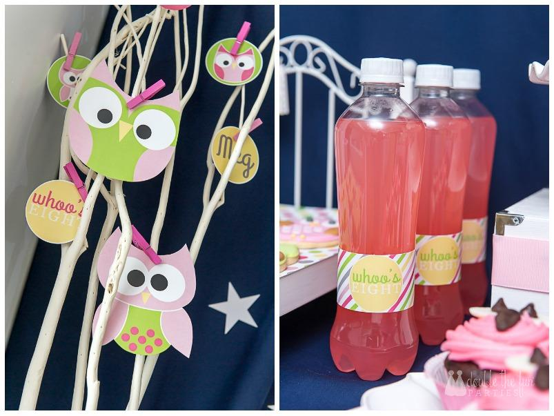 "Night owl sleepover party dessert table with little owls in trees and ""Who's Eight?"" soda bottles - The Party Teacher."