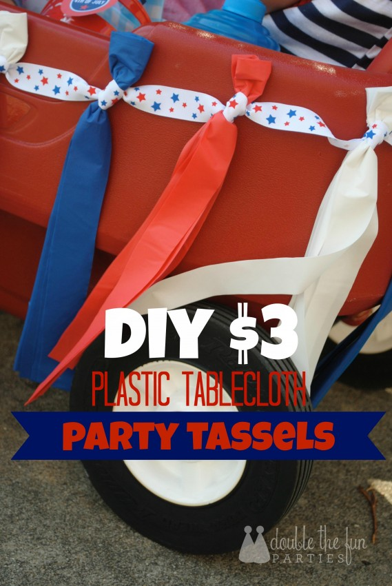 How to make $3 plastic tablecloth party tassels